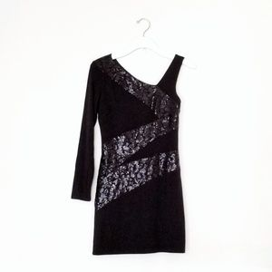 Asymmetrical Sequined Evening Mini Dress